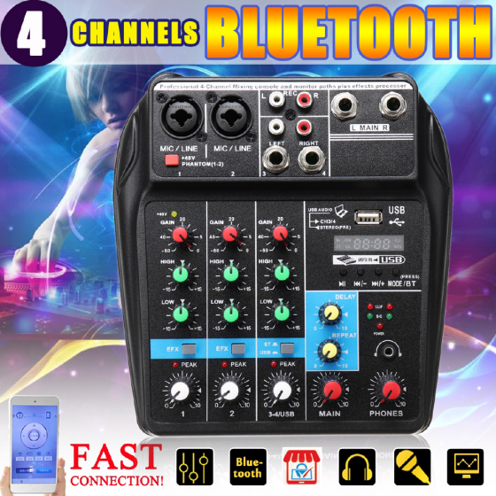 A4 4Channels Audio Mixer Sound Mixing Console-1